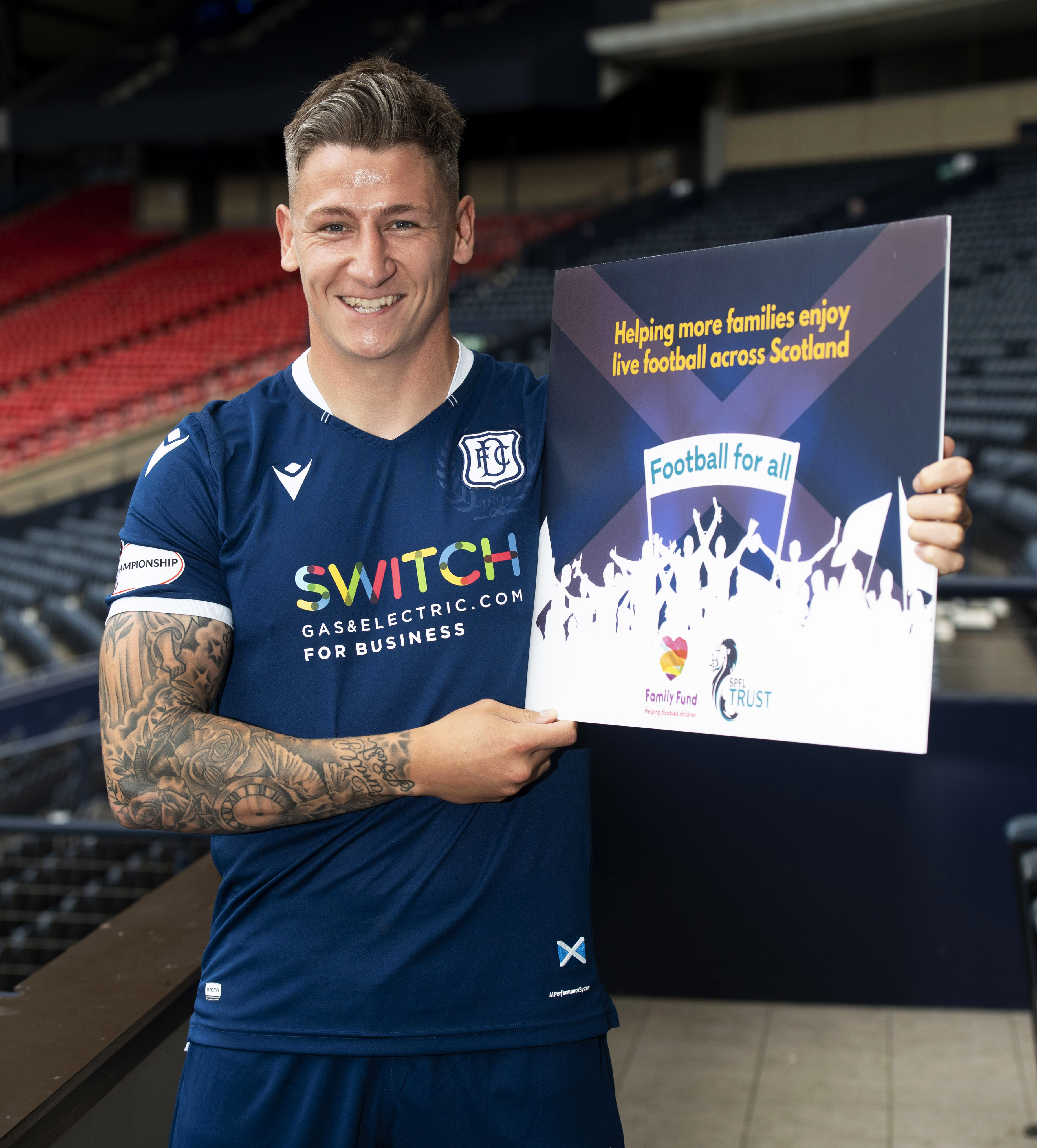 29/07/19 HAMPDEN PARK - GLASGOW Dundee's Josh Meekings at Hampden Park for the 2019/2020 Ladbrokes Championship Captains Photocall.