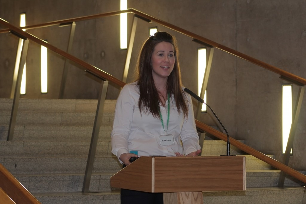 SPFL Trust manager Nicky Reid addressed the event at Holyrood.