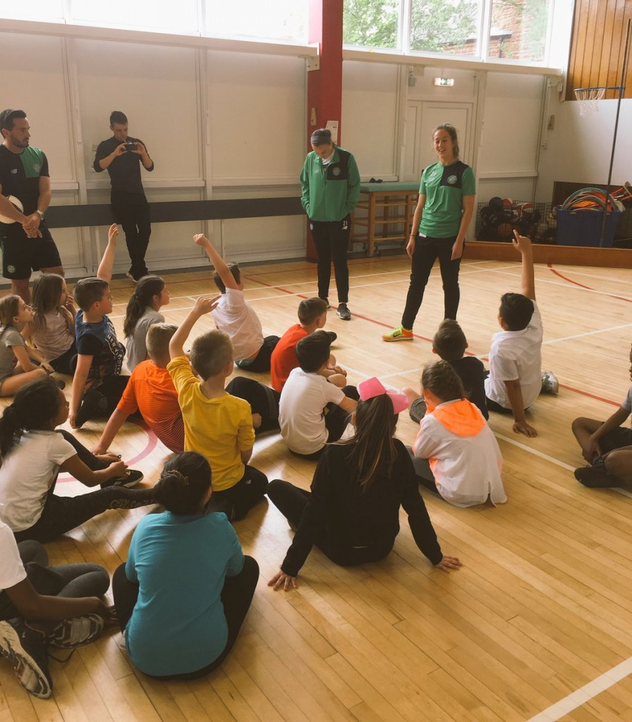 Primary 5 learn about what it takes to become a professional footballer from Jaclyn and Darcy.